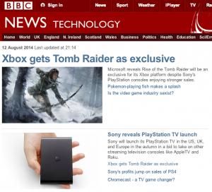 Screenshot of the BBC website