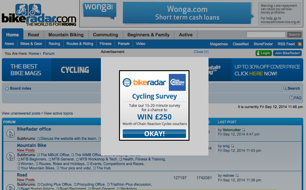 An example of a pop-up survey