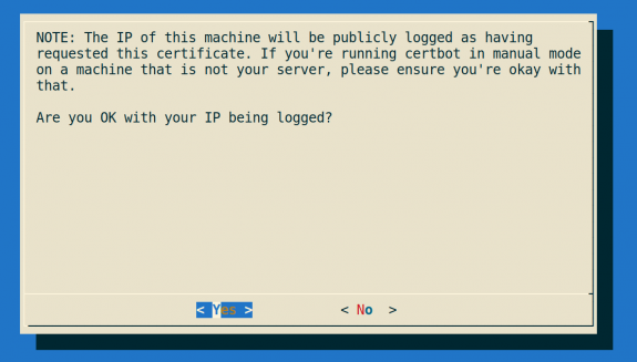 Certbot client IP warning